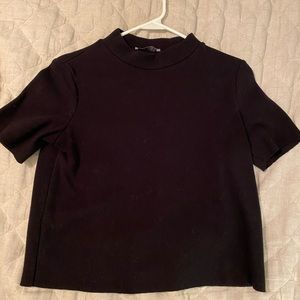 Zara crop mock turtle neck sweater like ribbed tee